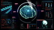 Businesswoman touching digital screen, Scanning Brain.cerebrum. video