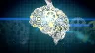 Businesswoman touching screen, Steel golden gears making human brain shape. human artificial intelligence. video