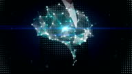 Businesswoman touching shape of Brain connect digital lines, artificial intelligence video