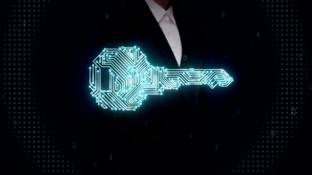Businesswoman touching shape of key, circuit board light line, security. video