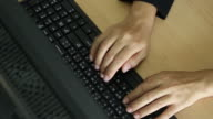 Businesswoman typing and develop his project video