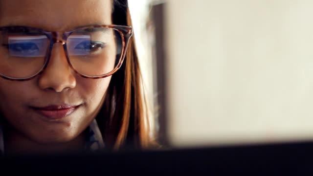 Businesswoman using computer video