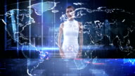 Businesswoman using digital screen video