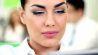 Businesswoman Using Digital Tablet video