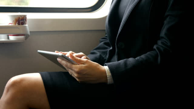 Businesswoman using her tablet on the train video