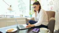 Businesswoman using laptop while having a phone conversation. video