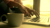 Businesswoman using on a laptop, Slow motion video