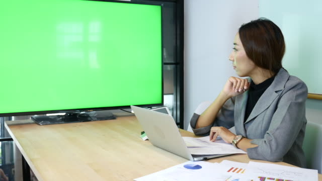 Businesswoman Video conference meeting with Green screen video