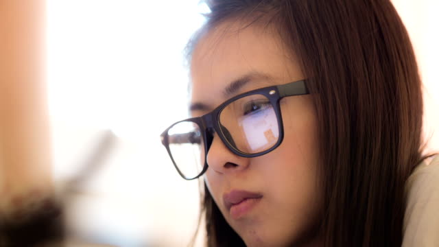 Businesswoman watching trend of Information global video