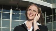 HD CRANE: Businesswoman with a skyscraper video