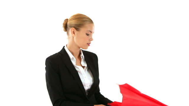 Businesswoman with Umbrella video