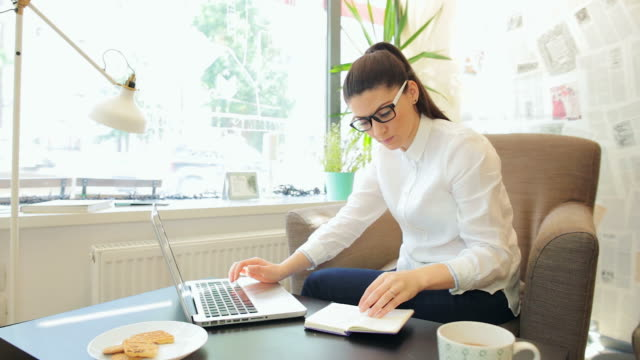 Businesswoman working on the laptop. video