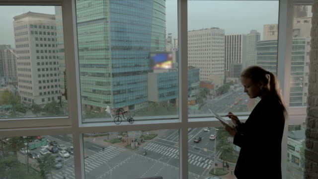 Businesswoman working with pad by the window. Seoul, South Korea video