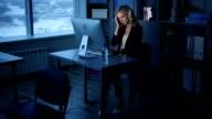 Businesswomen Late in the Evening in the Design Bureau video