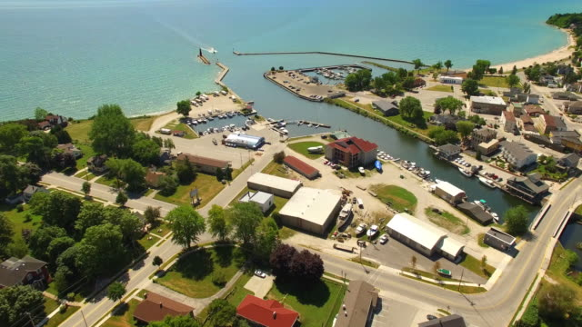 Bustling Harbor Town on Lake Michigan, Aerial View video