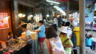 Bustling in Amphawa Floating Market, Thailand video