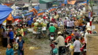 Busy and chaotic Farmers Market Hanoi Vietnam video