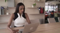 Busy business woman buy online via internet video