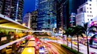 Busy City Night Timelapse. Central. Hong Kong. video