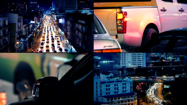Busy City Roads At Night Montage video