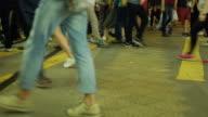 Busy city street people on crosswalk in Hong kong. video