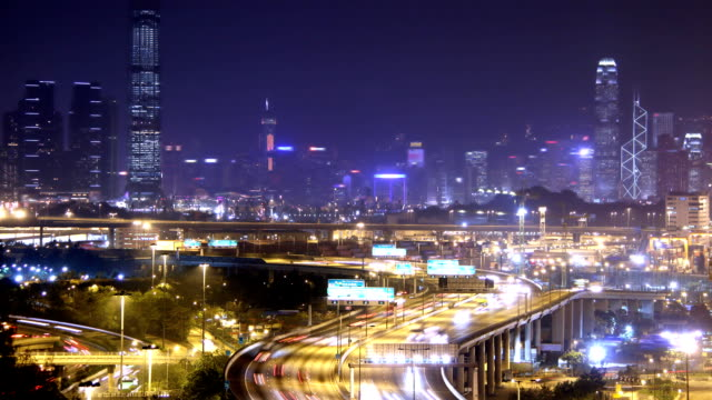 Busy City. Timescape at Night. Hong Kong. video