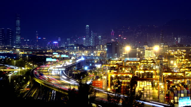 4K Busy City Timescape at Night. Hong Kong. video