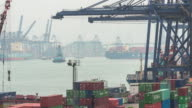 Busy container harbor Hong kong at day, timelapse 4k. video