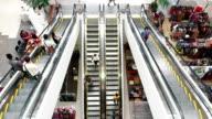 Busy escalators in shopping mall in Bangkok video
