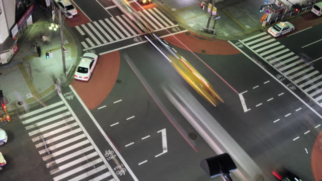 Busy intersection in Tokyo as seen from above HD video