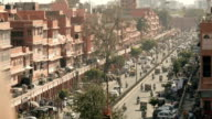 Busy Jaipur Pink City street from above video