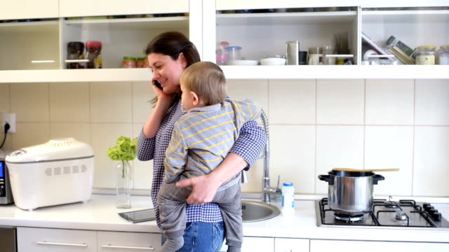 Busy Mother in Kitchen video