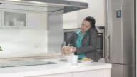 HD DOLLY: Busy Mother Preparing Breakfast video