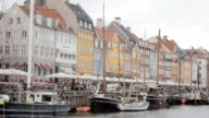 Busy Nyhavn canal, waterfront video