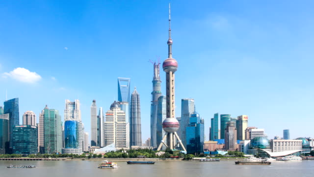 busy ships on river and panoramic cityscape of modern city shanghai,time lapse. video