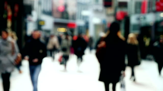 Busy Shopping Street in Slow Motion video
