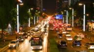 Busy street scene of Chengdu, China at night. video