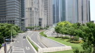 Busy traffic and modern buildings in shanghai,real time. video