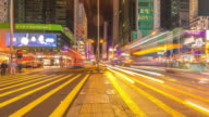 Busy traffic on urban road and modern buildings in hong kong,time lapse. video