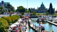 Busy VIctoria BC Buskers and Tourists video