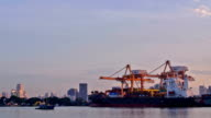 Busy Working at Bangkok Shipyard Time Lapse for logistic video