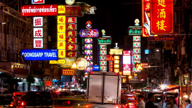 Busy Yaowarat Road time lapse in the night video