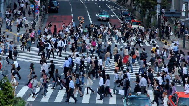 Busy zebra crossing in the morning Tokyo video