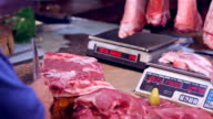 HD butcher chopping meat at Asian market video