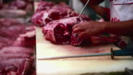 Butcher cutting meat. video