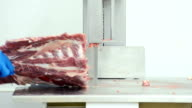 Butcher using machine to chop and slice pork video