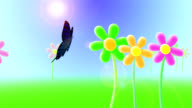 Butterfly flying over flowers HD video