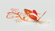 Butterfly on ornate background video