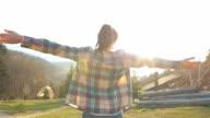 Cabin Retreat - Young woman enjoying life. video