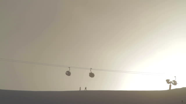 Cable car above ski slope video